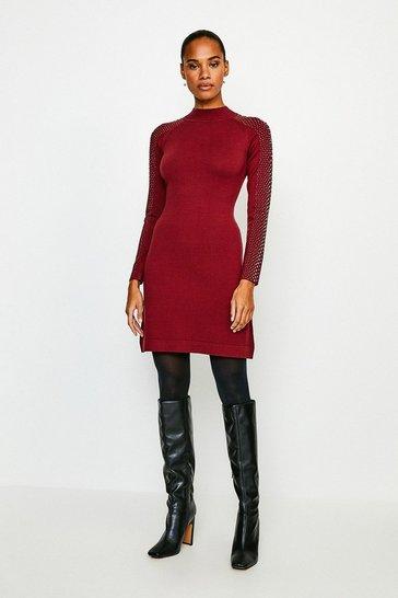 Wine Hot Fix Stud Dress