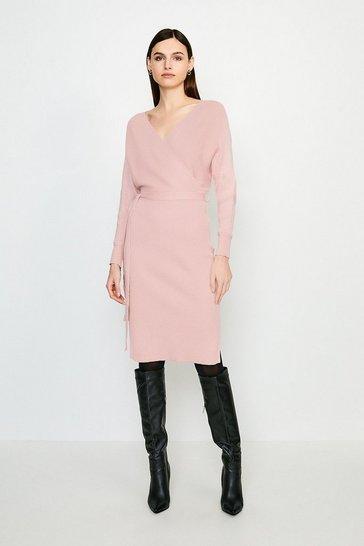Pink Wrap Knit Dress