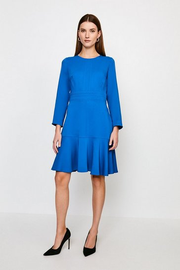 Blue Long Sleeve Ruffle Hem Top Stitch Dress