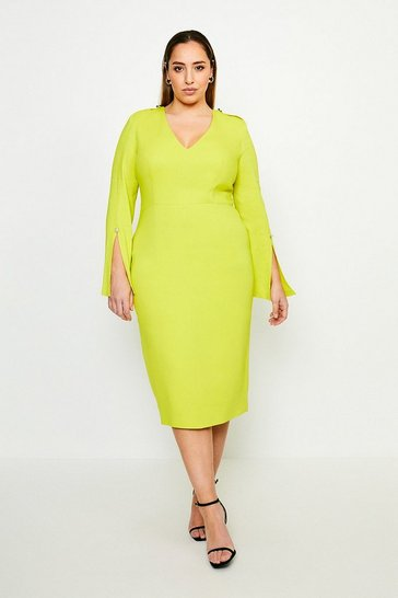 Chartreuse Curve Long Sleeve Deep V Neck Pencil Dress