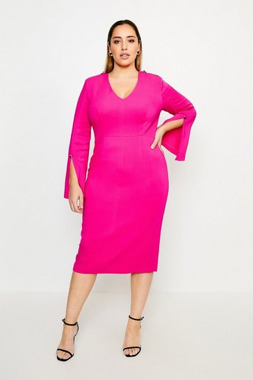 Hot pink Curve Long Sleeve Deep V Neck Pencil Dress