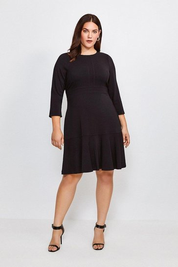 Black Curve Long Sleeve Ruffle Hem Dress