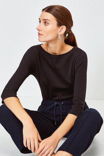 Black Essential Cotton Slash Neck 3/4 Sleeved Top
