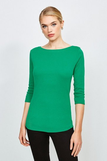Green Essential Cotton Slash Neck 3/4 Sleeved Top
