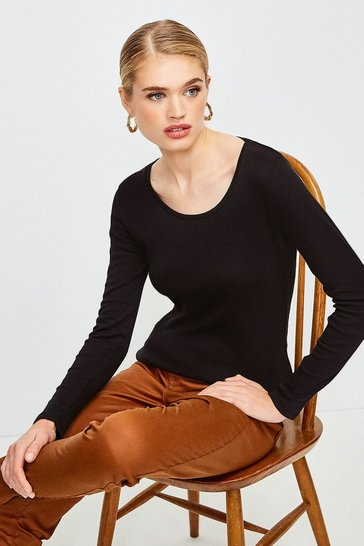 Black Essential Cotton Long Sleeved Scoop Neck Top