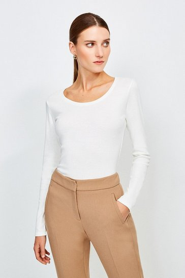 Ivory Essential Cotton Long Sleeved Scoop Neck Top