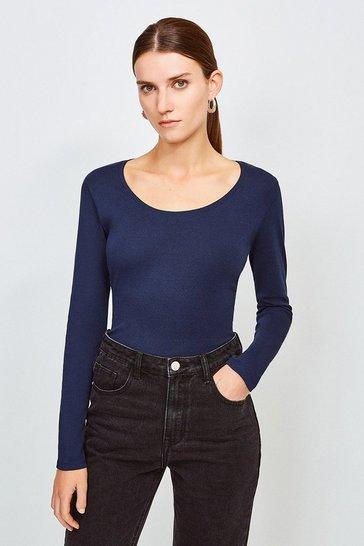 Navy Essential Cotton Long Sleeved Scoop Neck Top
