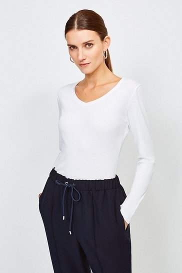 White Essential Cotton Long Sleeved V Neck Top