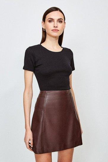 Black Essential Cotton Short Sleeved Crew Top