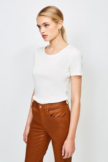 Ivory Essential Cotton Short Sleeved Crew Top