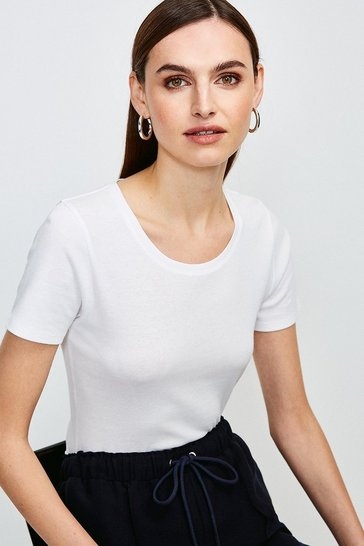 White Essential Cotton Short Sleeved Crew Top