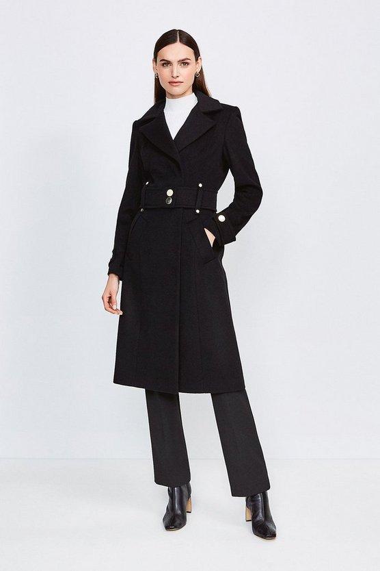Black Minimal Military Wool Blend Coat