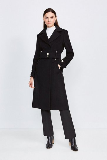 Black Minimal Military Wool Blend Coat