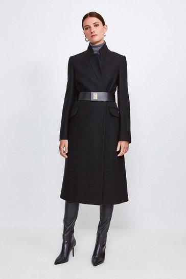 Black Hardware Belted Wool Coat