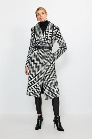 Mono Oversized Check Belted Coat