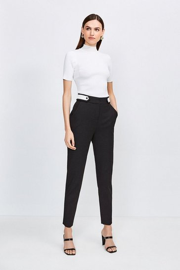 Black Contrast City Stretch Twill Tab Trousers