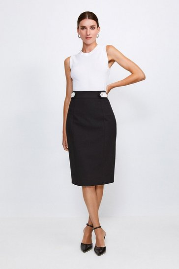 Black Contrast City Stretch Twill Tab Pencil Skirt