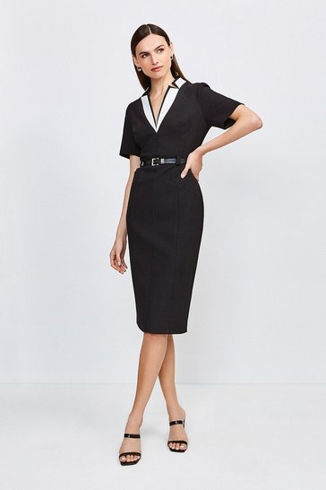 Black Contrast City Stretch Twill Notch Collar Dress