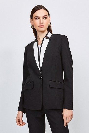 Black Contrast City Stretch Twill Notch Collar Jacket