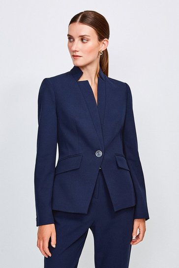 Navy City Stretch Twill Single Breasted Jacket