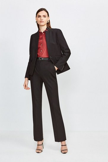Black City Stretch Twill Belted Capri Trousers
