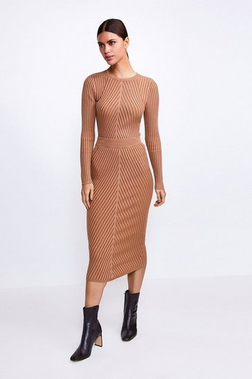 Camel Plated Rib Knit Midi Skirt
