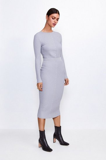 Grey Plated Rib Knit Midi Skirt
