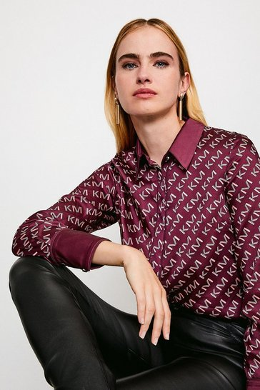 Burgundy Logo Print Shirt With Piping