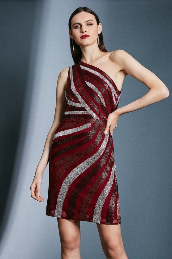 Red Beaded One Shoulder Dress