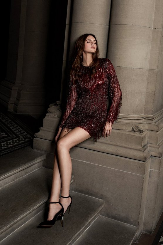 Red Sequin And Beaded Tassel Dress
