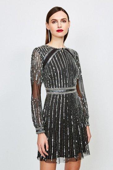 Silver Sequin Long Sleeve Dress