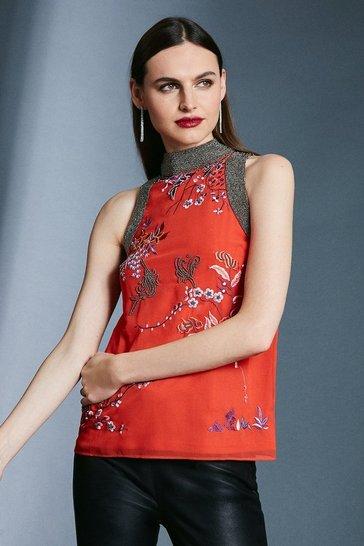 Orange Embroidery Beaded Detail Halter Top