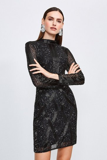 Black Beaded And Sequin Hi Neck Dress