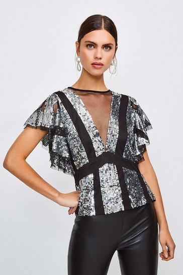 Silver Sequin Fluted Sleeve Top