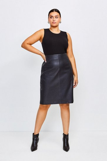 Black Curve Stretch Leather Pencil Skirt