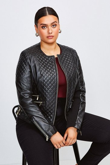 Black Curve Leather Quilted Jacket
