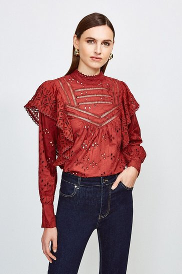 Burgundy Cut Work Cotton Detail Blouse