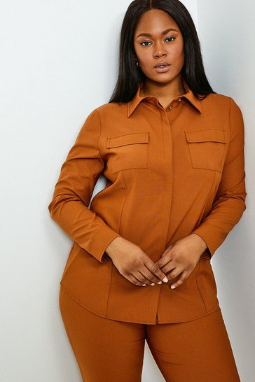 Tan Curve Polished Stretch Wool Blend Shirt