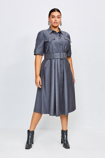 Grey Curve Polished Stretch Wool Blend Utility Dress