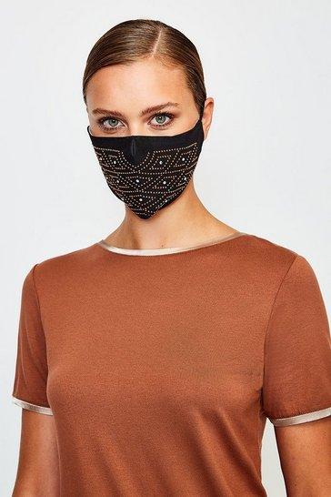 Black Fashion Diamante Pattern Face Mask