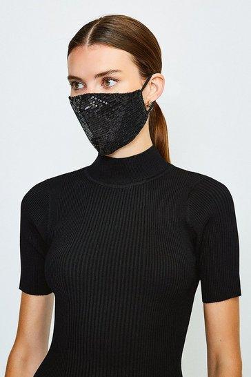 Black Fashion Sequin Face Mask