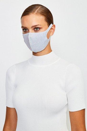 Blue Fashion Diamante Face Mask