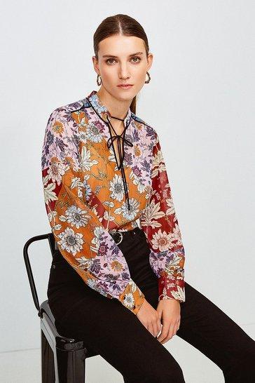 Purple Floral Tie Detail Blouse