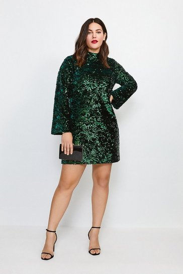 Green Curve Sleeved Velvet Sequin Dress