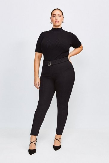 Black Curve Ponte Belted Skinny Trousers