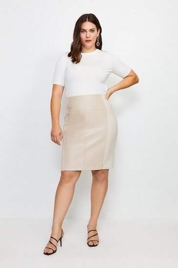 Nude Curve Faux Leather Ponte Panelled Skirt