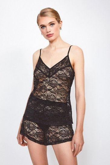 Black Stretch Lace Cami And Short Set