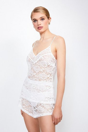 Ivory Stretch Lace Cami And Short Set