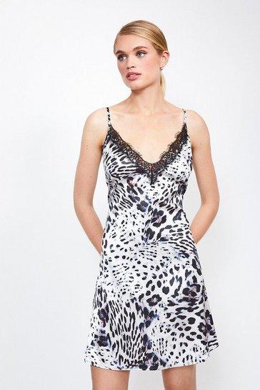 Leopard Satin Animal Print Lace Trim Chemise