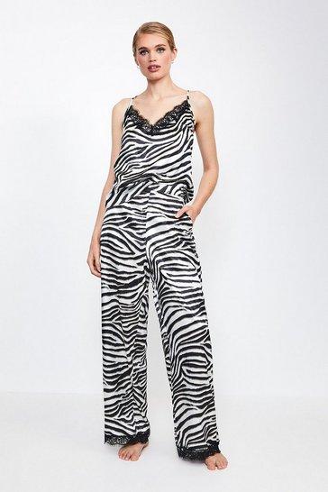 Zebra Animal Print Satin Pj Pant